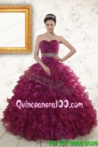 Beading and Ruffles The Most Popular Burgundy Elegant Quinceanera Gown