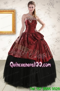 Beautiful Ball Gown Embroidery 2015 Quinceanera Dresses in Rust Red and Black