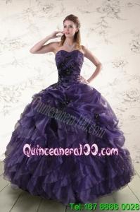Beautiful Sweetheart Appliques Purple Quinceanera Dress for 2015