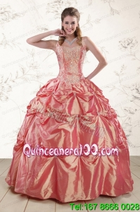 Elegant Beading and Appliques Watermelon Red Sweet 16 Dresses