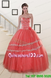New Style Beaded Watermelon Beautiful Quinceanera Dresses for 2015