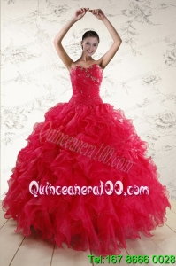 New Style Sweetheart Beading 2015 Beautiful Quinceanera Dresses in Coral Red
