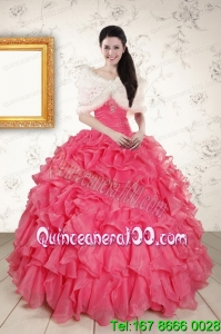 Perfect Beading and Ruffles Hot Pink Quinceanera Dresses with Strapless