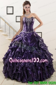 Perfect Sweetheart Purple Quinceanera Dresses with Appliques
