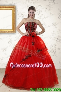 Red Appliques Strapless Beautiful Quinceanera Dresses for 2015