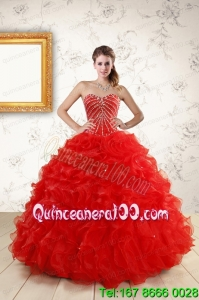 Sweetheart Beading Elegant Red Quinceanera Dresses for 2015