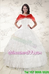 White Ball Gown Beautiful Quinceanera Dresses with Sequins and Ruffles
