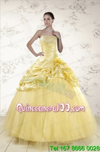 Yellow Sweetheart Ball Gown Beautiful Quinceanera Dresses for 2015