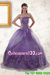 2015 Pretty Purple Strapless Appliques Quinceanera Dresses