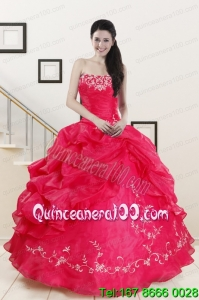 2015 Pretty Sweetheart Embroidery Quinceanera Dress in Hot Pink