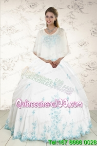 Most Popular Strapless Appliques 2015 Quinceanera Dresses in White