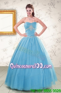 Perfect Strapless Beaded Quinceanera Dresses in Aqua Blue