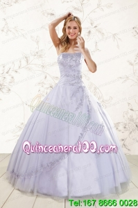 Perfect Strapless Lavender Quinceanera Dresses with Appliques