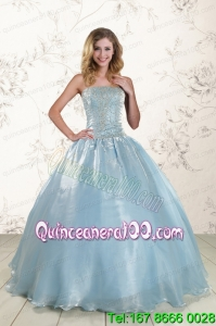 Pretty Style 2015 Beading Quinceanera Dresses with Strapless