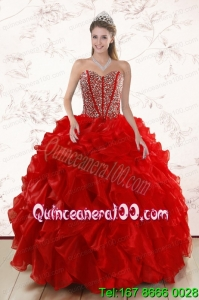 Sweetheart Elegant Red Quinceanera Dresses With Beading and Ruffles for 2015