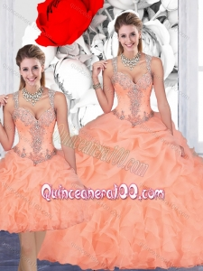 Most Popular See Through Back Beaded and Bubble Detachable Quinceanera Dresses in Organza