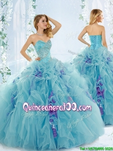 Sweet Beaded Aque Blue Detachable Quinceanera Dresses in Organza