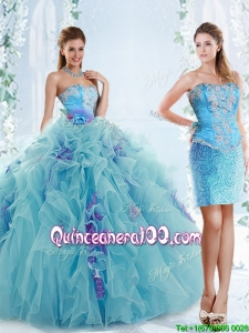 Exquisite Applique Bodice Aqua Blue Detachable Vintage Quinceanera Gowns in Organza