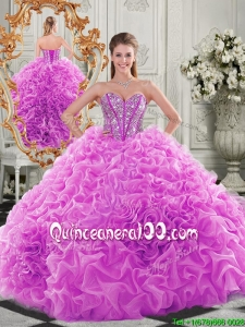 Lovely Puffy Skirt Beaded Bodice and Ruffled Vintage Quinceanera Dress in Fuchsia