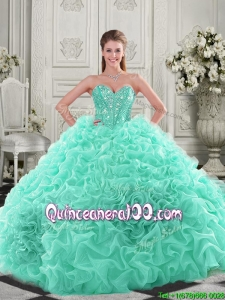 Elegant Visible Boning Organza Apple Green 2016 Quinceanera Dresses with Chapel Train