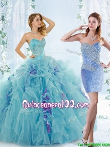 Low Price Aque Blue Detachable 2016 Quinceanera Dresses with Beading and Ruffles
