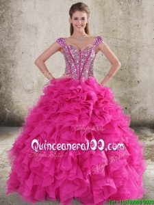 Perfect Ruffled and Beaded Bodice Straps Hot Pink 2016 Quinceanera Dresses