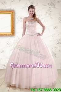 2015 Most Popular Light Pink Beading Quinceanera Dresses