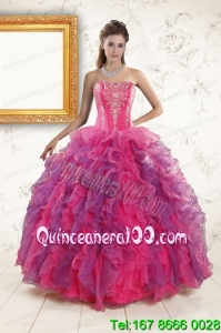 2015 Multi Color New Arrival Quinceanera Dresses with Appliques and Ruffles