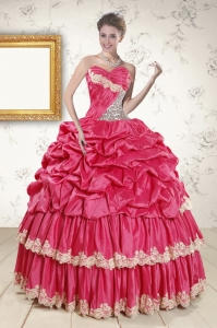 2015 New Arrival Appliques Sweet 15 Dresses in Coral Red