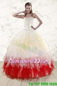 2015 New Arrival Multi Color Sweetheart Ruffled Quinceanera Dresses wth Beading