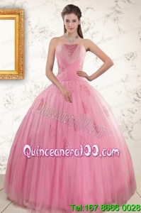 2015 New Arrival Pink Quinceaneras Dresses with Appliques and Beading