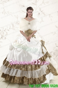 2015 New Arrival Strapless Leopard Quinceanera Dresses with Hand Made Flower