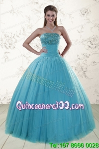 2015 New Arrival Sweetheart Baby Blue Quinceanera Dresses with Appliques