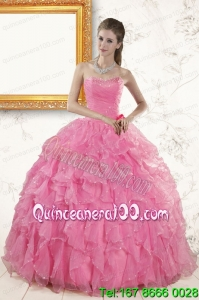 2015 New Arrival Sweetheart Beading Baby Pink Quinceanera Dresses
