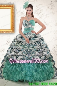 2015 New Arrival Turquoise Sweep Train Quinceanera Dresses with Beading and Picks Ups