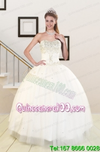 2015 Sweetheart White New Arrival Quinceanera Dresses with Beading