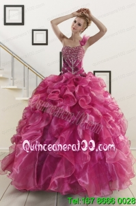 New Arrival Beading One Shoulder Sweet 16 Dresses in Fuchsia