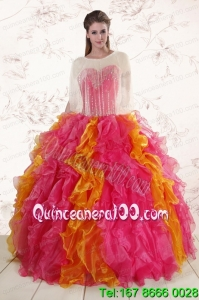 New Arrival Beading Quinceanera Dresses in Multi color
