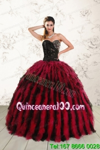 New Arrival Sweetheart Ruffles and Beaded Quinceanera Dresses in Red and Black