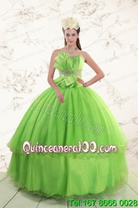 Spring Green 2015 New Arrival Sweetheart Quinceanera Dresses with Beading and Bowknot