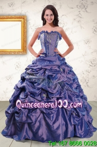 2015 Beaded and Pick ups Purple Traditional Quinceanera Dresses with Brush Train
