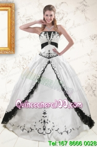 2015 Traditional Embroidery Quinceanera Dresses in White and Black