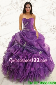 2015 Traditional Purple Ball Gown Quinceanera Dress with Appliques and Ruffles