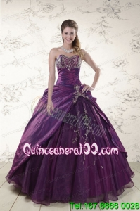 2015 Traditional Purple Sweetheart Appliques Quinceanera Dresses