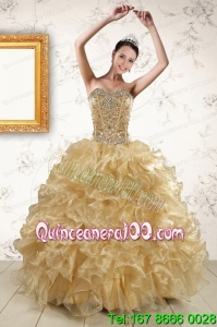 2015 Traditional Ruffles and Beaded Quinceanera Dresses in Champange