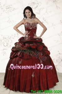 Appliques Traditional Wine Red Quinceanera Dresses with Lace Up