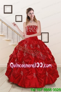 Cheap Sweetheart Appiques and Beaded 2015 Sweet 16 Dresses in Red