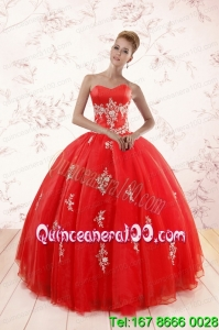 Most Popular Red Puffy Sweet 16 Dresses with Appliques