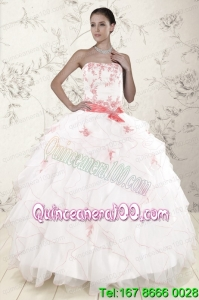 Most Popular White Sweet 16 Dresses with Pink Appliques and Ruffles