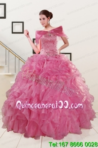 Puffy Sweetheart Pink Sweet 16 Dresses with Beading